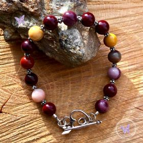 Mookaite Bracelet with Silver Heart Toggle Clasp